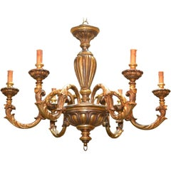 Continental Carved and Gilded Chandelier, circa 1940