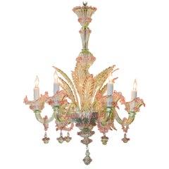 Italian Murano Multi-Color Glass Chandelier, circa 1920