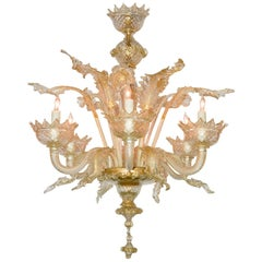 Venetian Amber to Clear Glass Chandelier, circa 1920