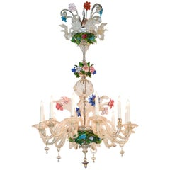 Venetian Multi-Color Glass Chandelier, circa 1920