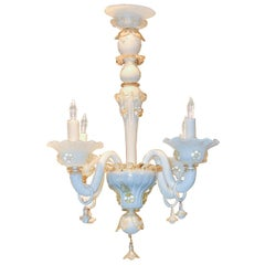 Antique Venetian Opalescent Glass Chandelier, circa 1920