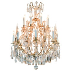 19th Century French Silvered Bronze and Crystal Chandelier