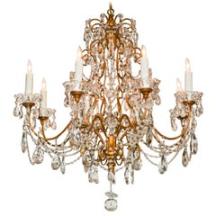 Italian Cut Crystal and Tole Chandelier, circa 1920