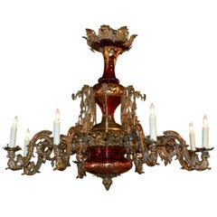 19th Century French Belle Époque Ruby Glass and Bronze Chandelier