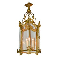 French Louis XV Gilt Bronze Lantern, circa 1920