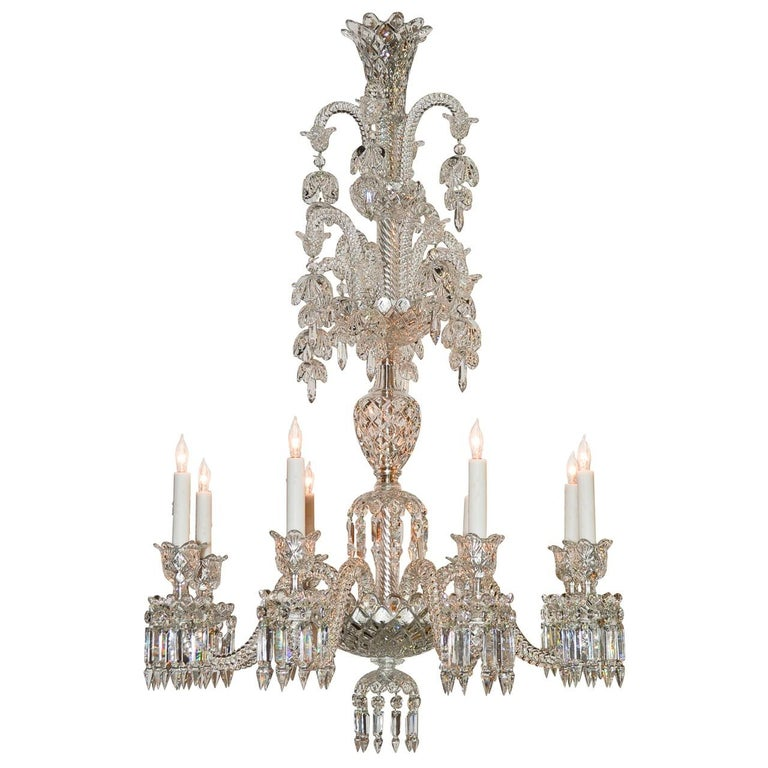 Signed Baccarat Cut Crystal Chandelier, circa 1900 For Sale