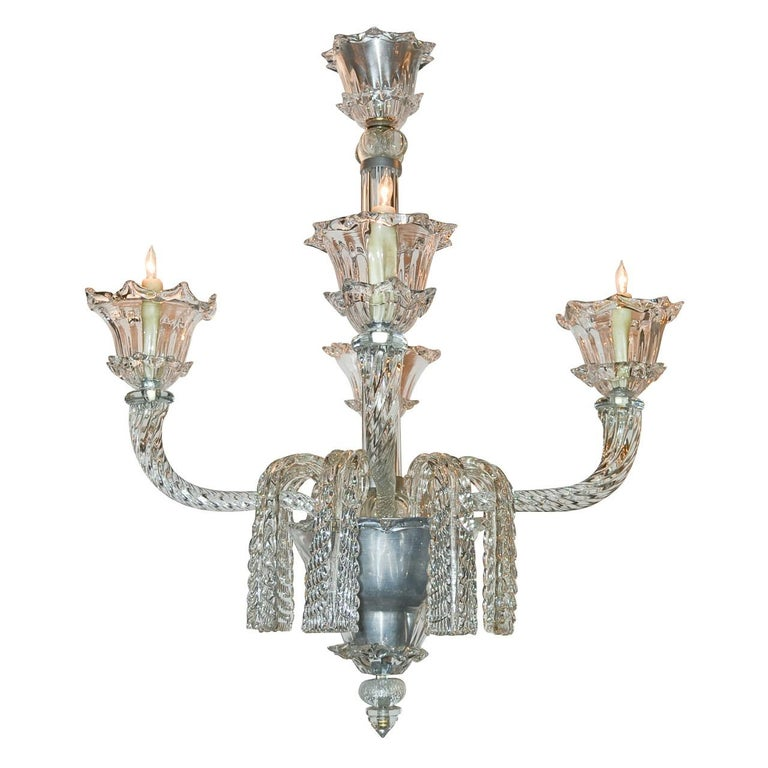 French Heavy Cut Glass Chandelier, circa 1940s
