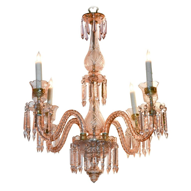 English Waterford Crystal Rose-Tinted Chandelier