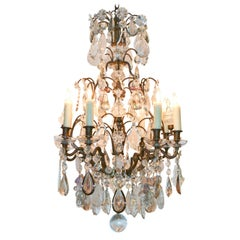 19th Century French Rock Crystal and Bronze Chandelier