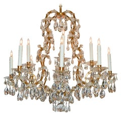 19th Century Italian Crystal and Bronze Chandelier