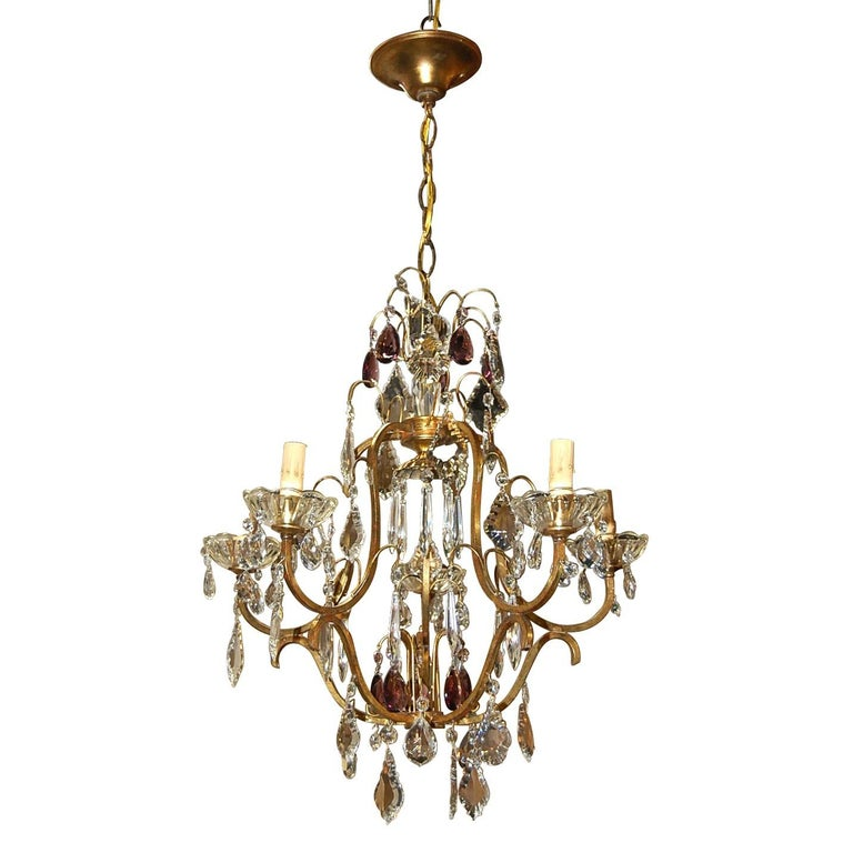 Antique French Crystal and Amethyst-Tinted Chandelier