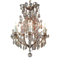 Antique French Brass and Crystal Chandelier