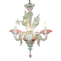 Venetian Glass Color-Tinted Chandelier, circa 1920