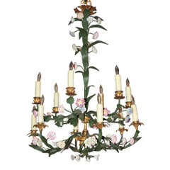 19th Century French Bronze and Iron Flower Chandelier