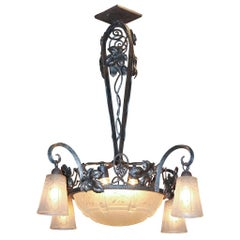 French Art Deco Iron and Glass Chandelier, circa 1920