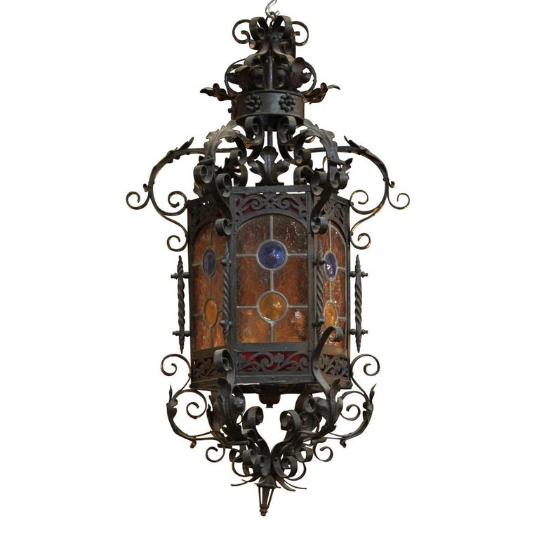 19th Century French Iron and Stained Glass Lantern