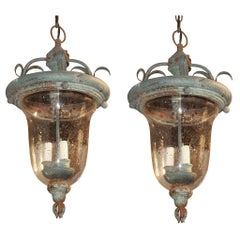 Pair of English Patinated Tole and Glass Lanterns