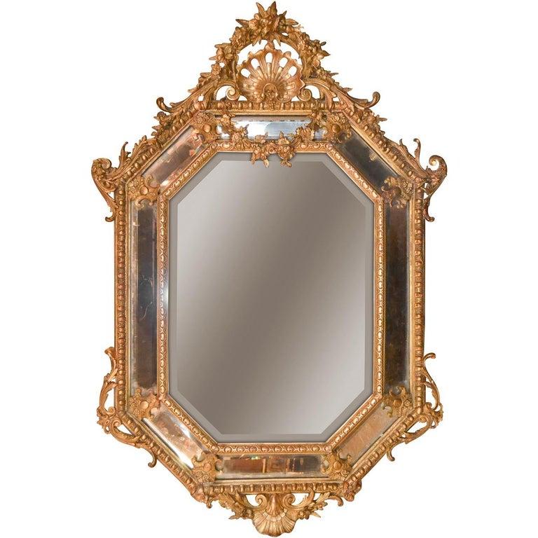 19th Century French Louis XV Cushion Mirror