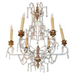19th Century French Giltwood, Iron and Crystal Chandelier