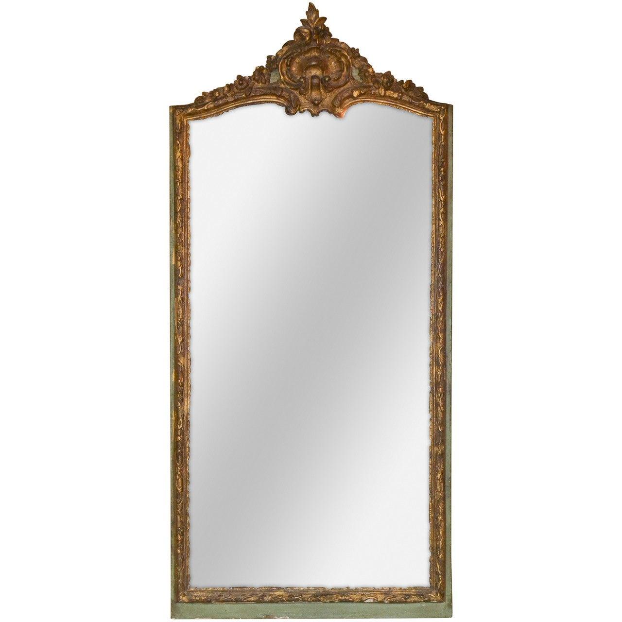 18th Century French Regence Parcel Gilt Mirror