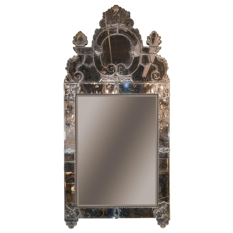 19th Century Etched Venetian Glass Mirror