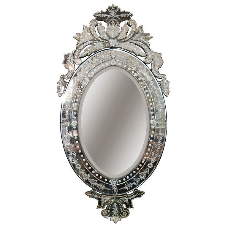 Venetian Etched Glass Wall Mirror, circa 1940