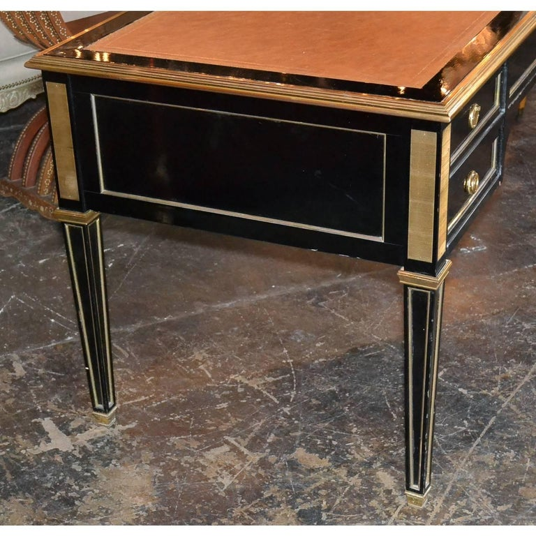 Midcentury French Black Lacquered Writing Desk In Good Condition For Sale In Dallas, TX