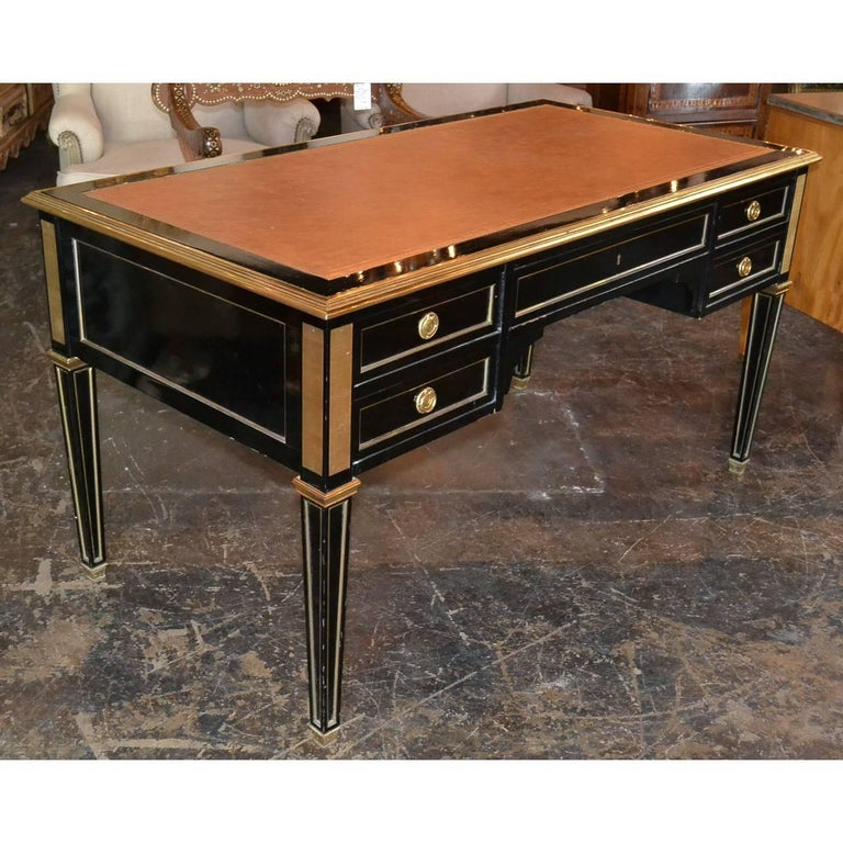 20th Century Midcentury French Black Lacquered Writing Desk For Sale