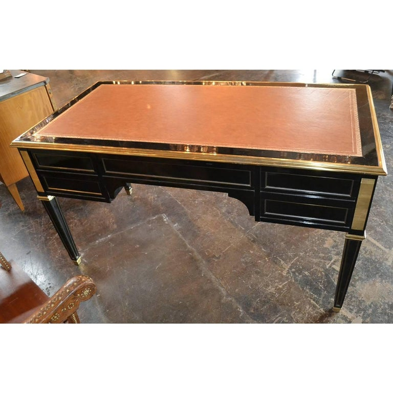 Brass Midcentury French Black Lacquered Writing Desk For Sale