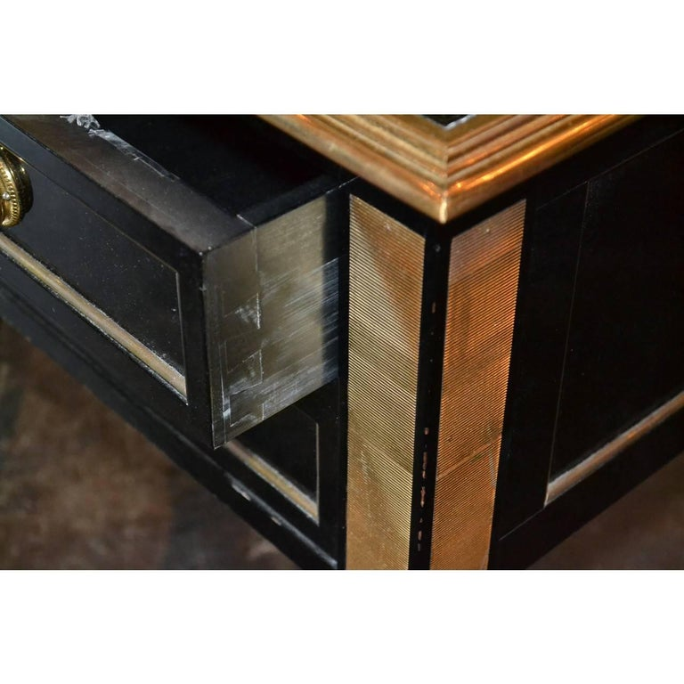 Midcentury French Black Lacquered Writing Desk For Sale 1