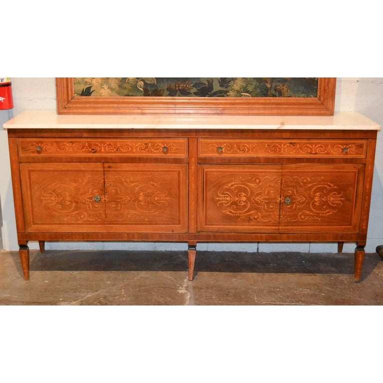 Italian Marquetry Inlaid Credenza or Sideboard In Good Condition For Sale In Dallas, TX