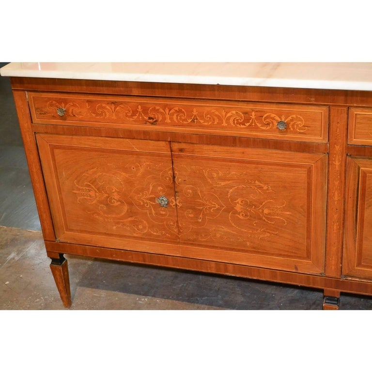 20th Century Italian Marquetry Inlaid Credenza or Sideboard For Sale