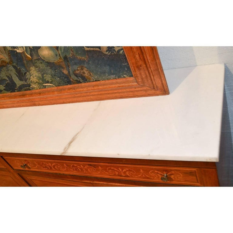 Mahogany Italian Marquetry Inlaid Credenza or Sideboard For Sale