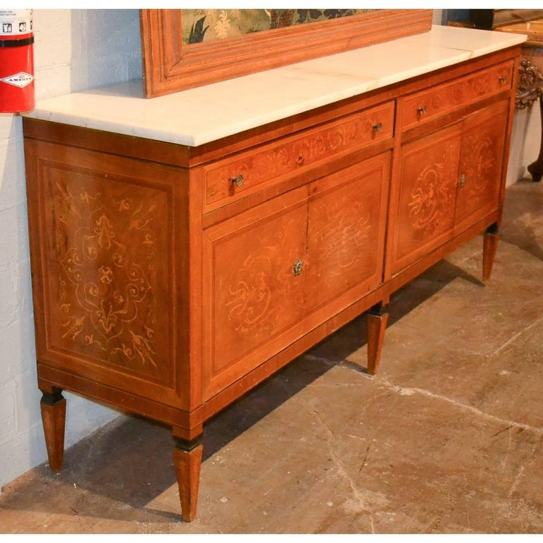 Italian Marquetry Inlaid Credenza or Sideboard For Sale 3