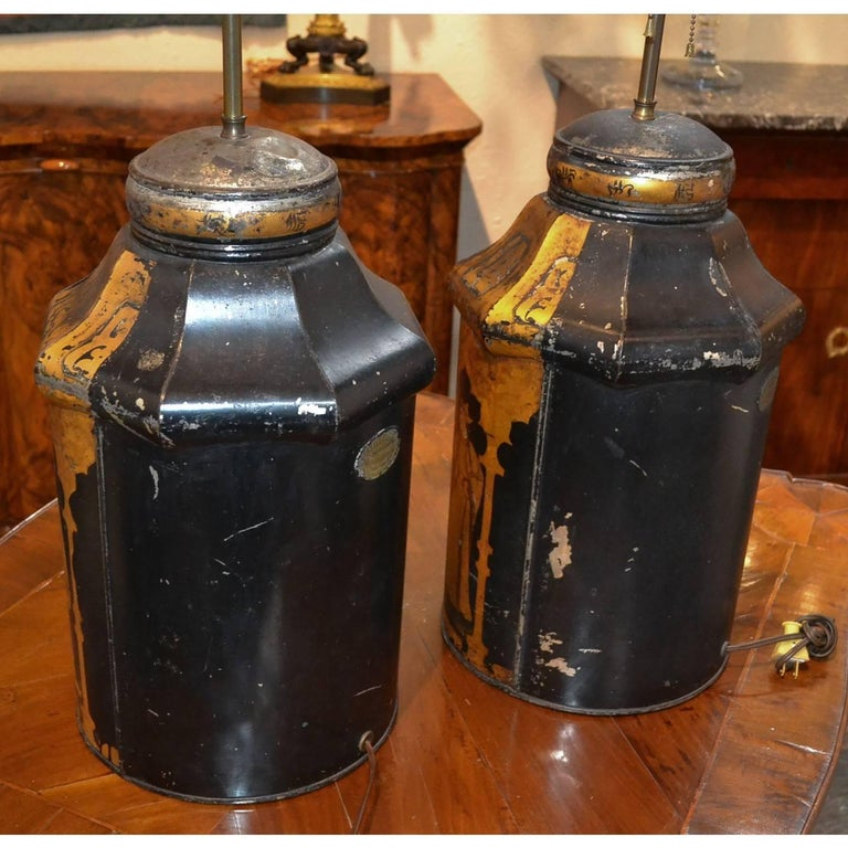 Tin Pair of 19th Century English Tea Can Lamps For Sale