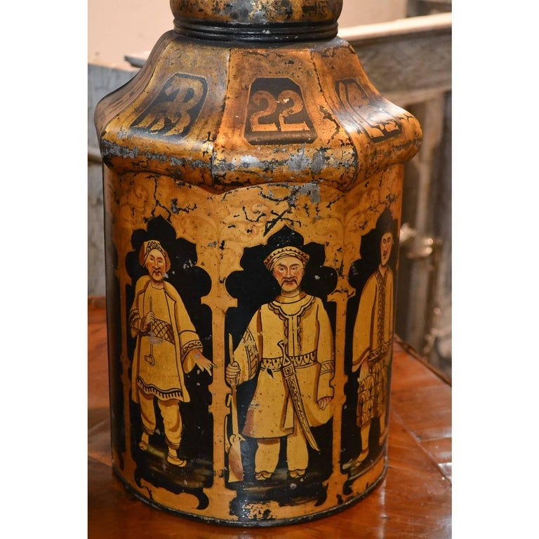 Hand-Painted Pair of 19th Century English Tea Can Lamps For Sale