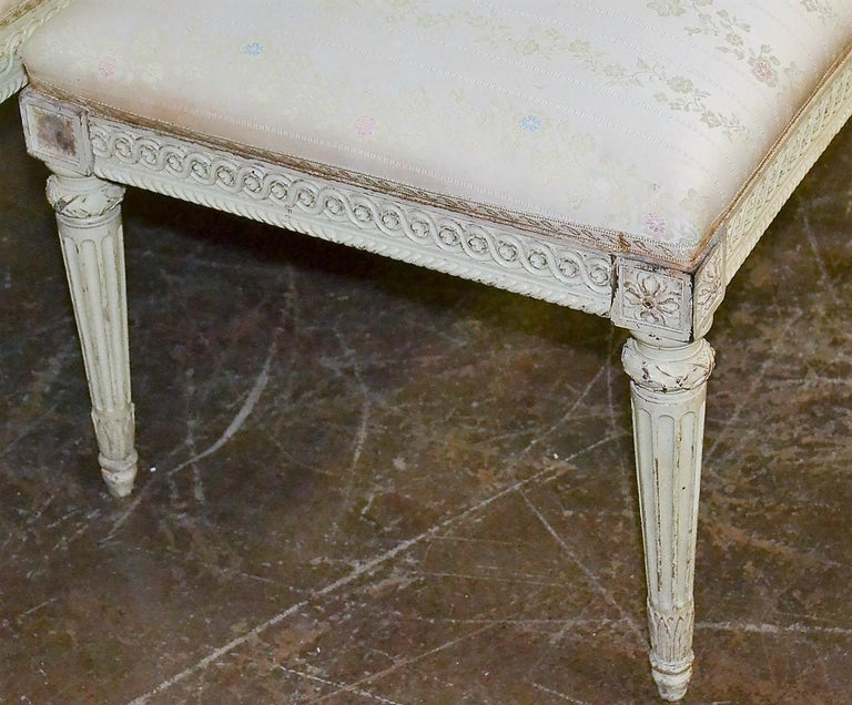 Carved 19th Century French Louis XVI Painted Bench For Sale