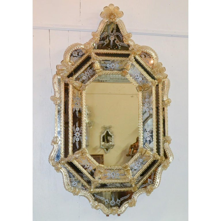 Dyed Venetian Etched Glass Mirror, circa 1920 For Sale