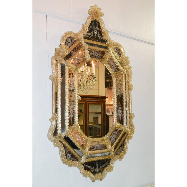 Venetian Etched Glass Mirror, circa 1920 For Sale 1