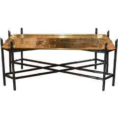 Midcentury Black Lacquered and Brass Coffee Table