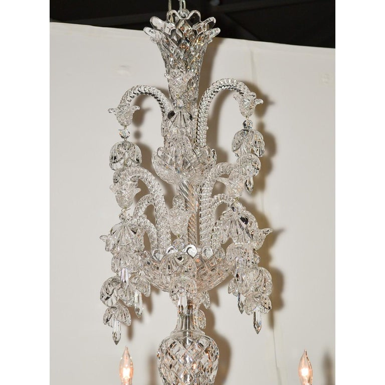 French Signed Baccarat Cut Crystal Chandelier, circa 1900 For Sale