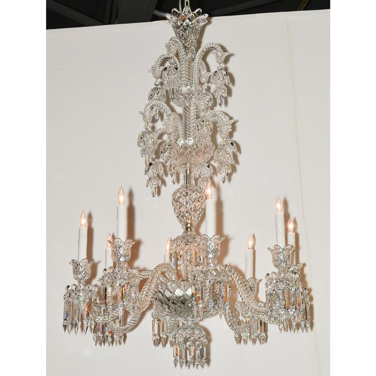 Carved Signed Baccarat Cut Crystal Chandelier, circa 1900 For Sale