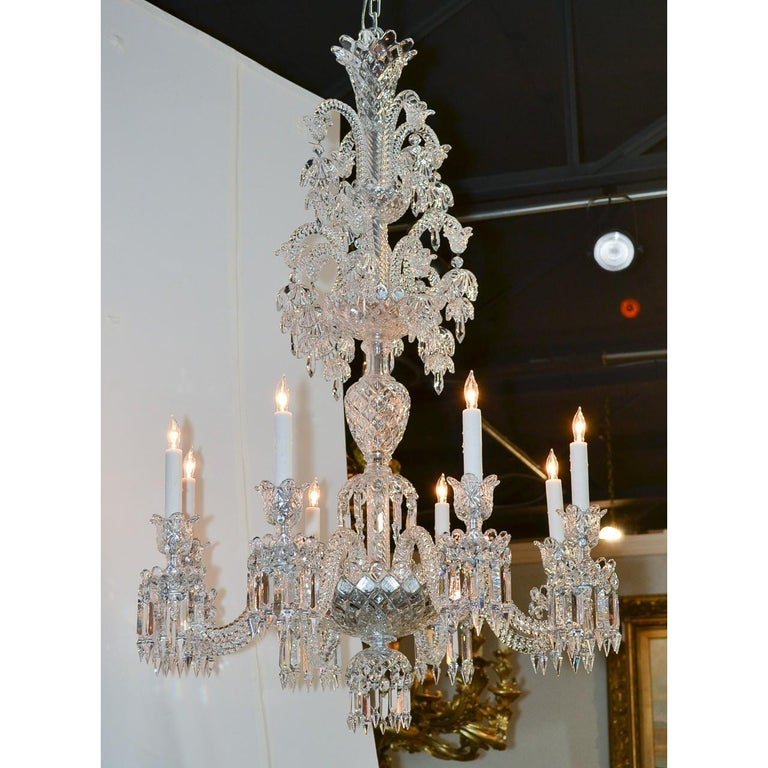 Early 20th Century Signed Baccarat Cut Crystal Chandelier, circa 1900 For Sale