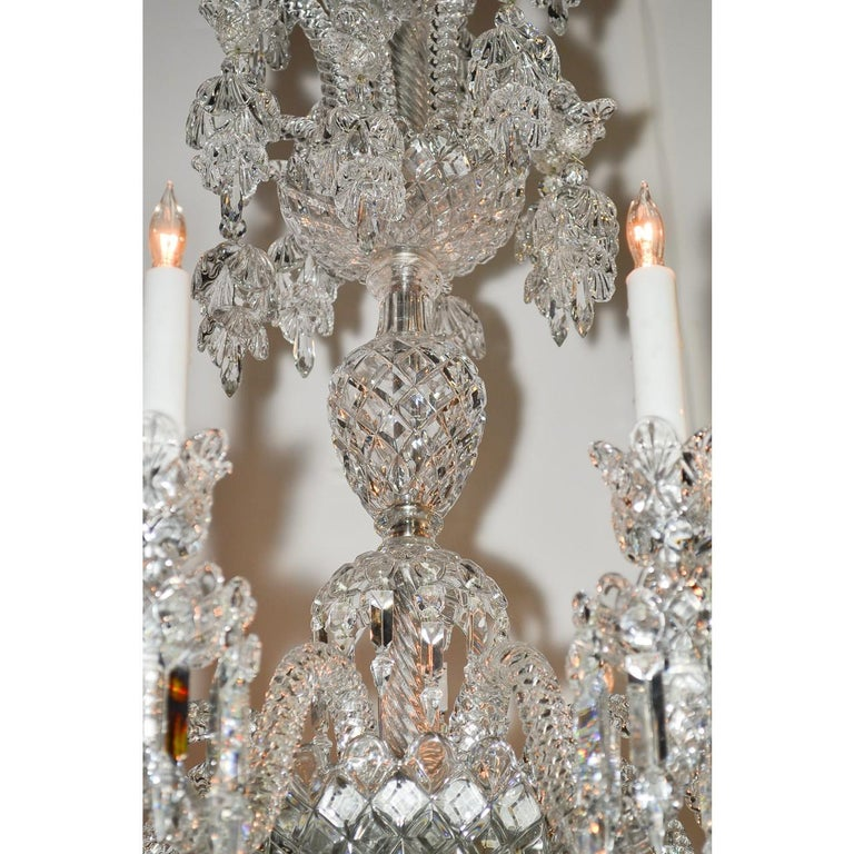 Signed Baccarat Cut Crystal Chandelier, circa 1900 For Sale 1