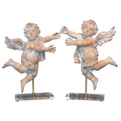 Pair of Early 19th Century Italian Carved Putti