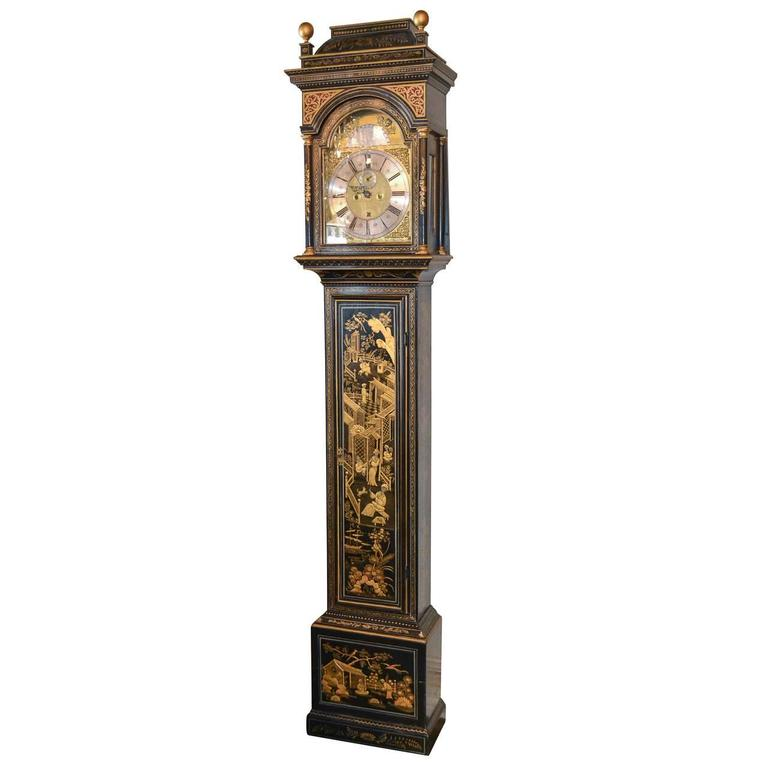 Fine 19th Century English Chinoiserie Tall Case Clock