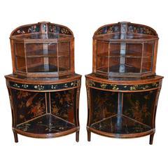 Rare Pair of 19th Century English Chinoiserie Corner Cabinets