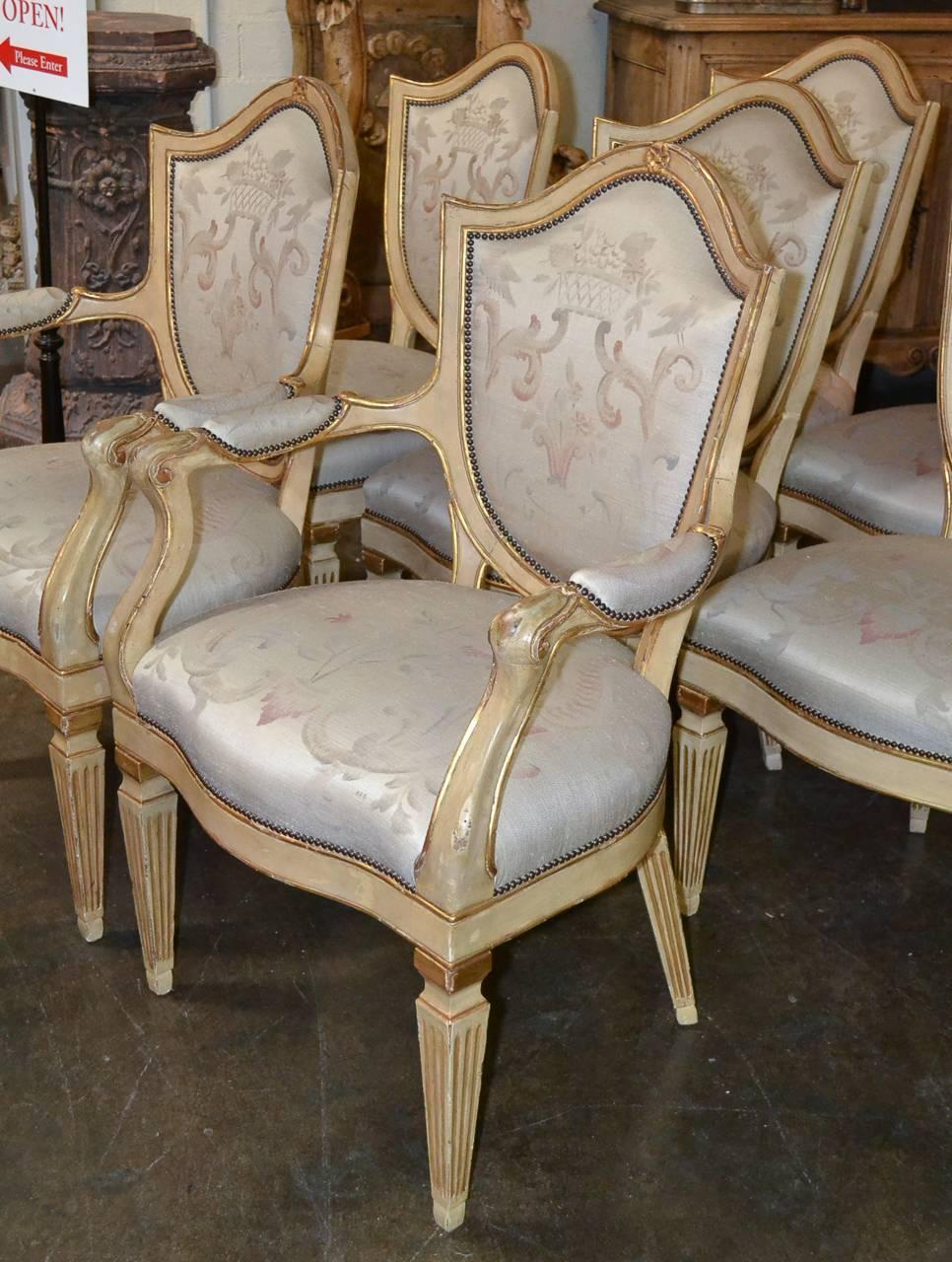 Wonderful Set Of Italian Hi Style Dining Chairs For Sale
