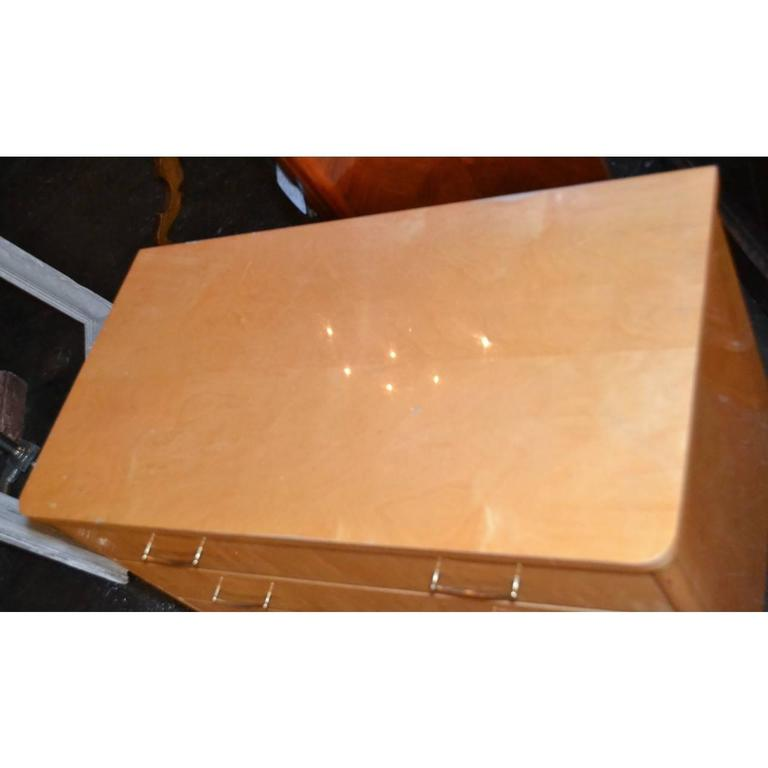 Mid-Century Modern French Mid-Century Burled Maple Chest For Sale