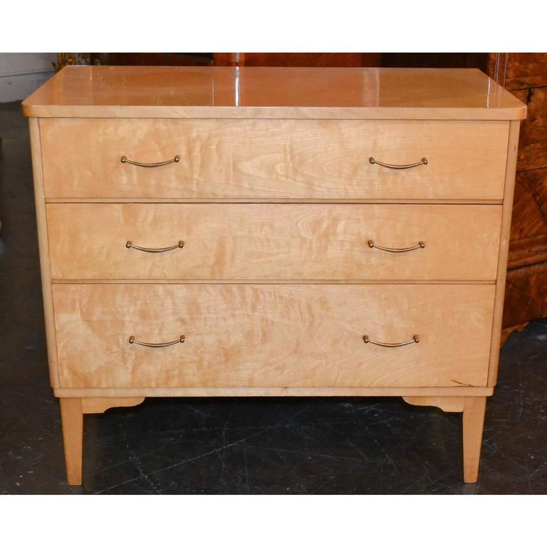 French Mid-Century Burled Maple Chest In Good Condition For Sale In Dallas, TX